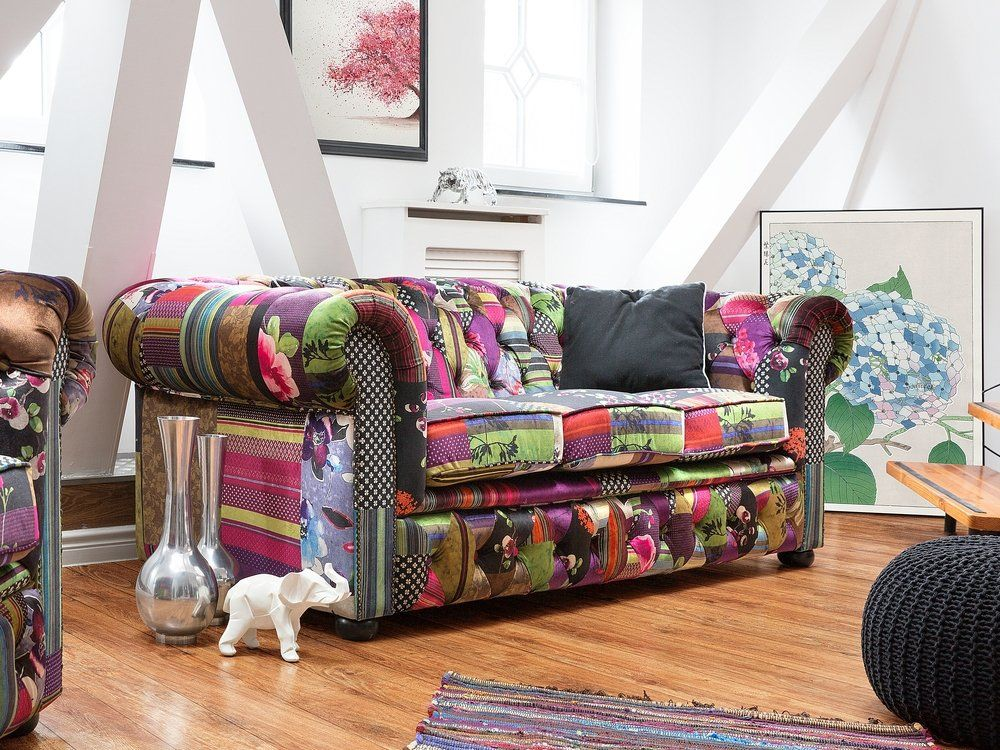 3 Seater Fabric Sofa Patchwork Purple CHESTERFIELD nel