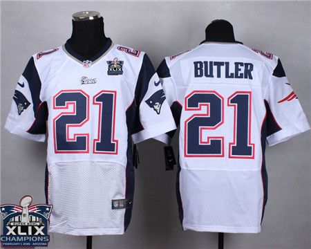 New England Patriots 21 Malcolm Butler 2015 Super Bowl Xlix Championship White Elite Jersey With Images Jersey Patriots Jersey New England Patriots