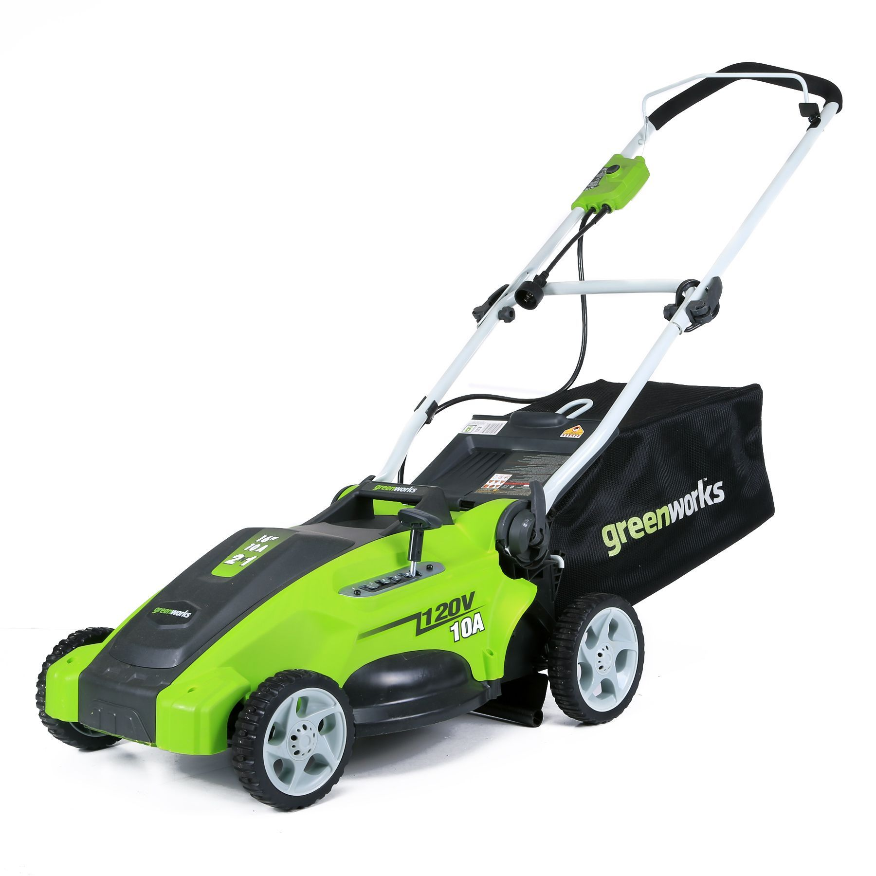 GreenWorks 25142 10amp Corded 16inch Lawn Mower, Green (Metal) is part of lawn Design Mulches - 8' for the perfect cut on all types of grass 7' rear wheels and 6' front wheels for maneuverability GreenWorks brand lawn mower with model number 25142 with removable discharge bag and mulch plug Constructed of steel, plastic and rubber for durability Measures 27 inches high x 16 inches wide x 14 inches deep Assembly required  Color Green