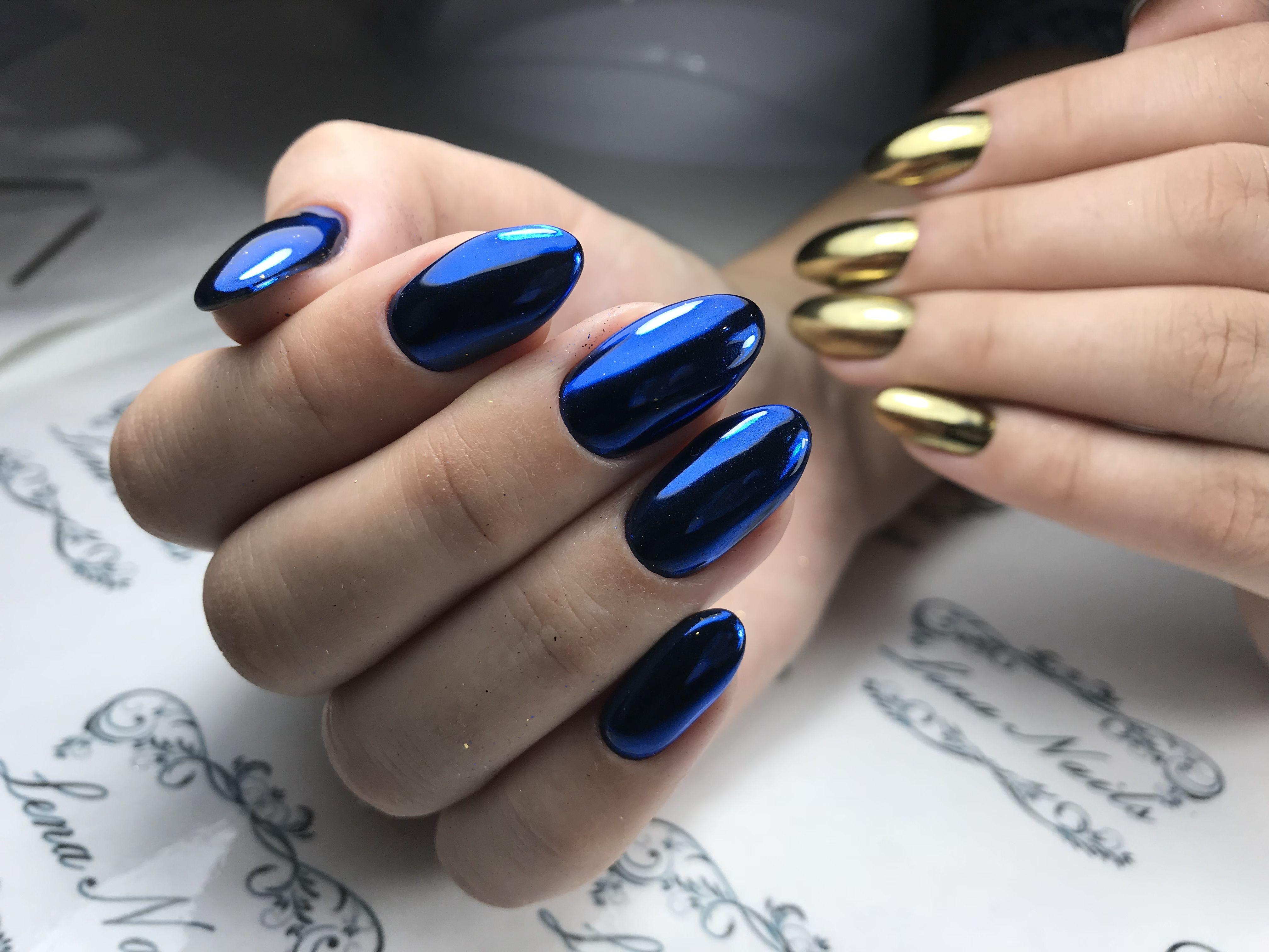 Идеи для маникюра синий с золотом