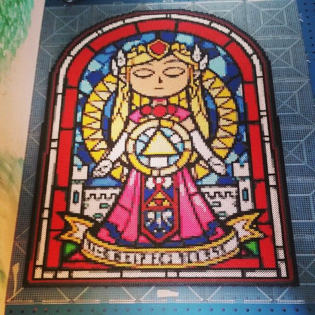 Zelda stained glas perler pixel art by Chris Thomas