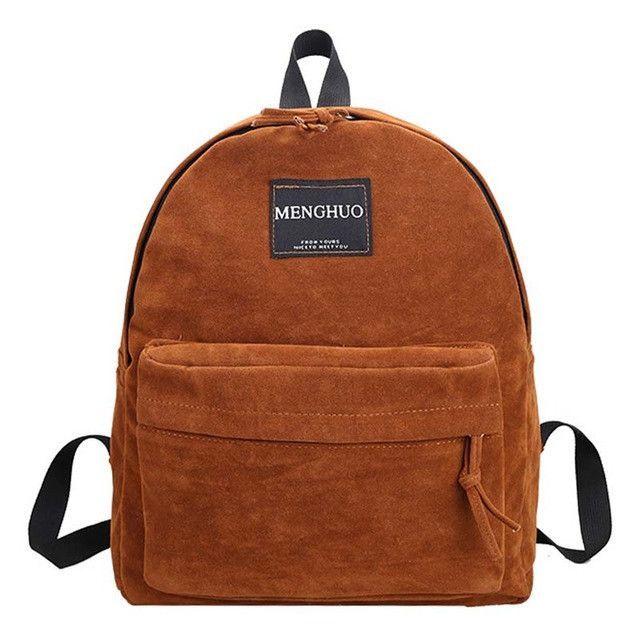 f9af419677d MengHuo new Women Backpack youth korean style shoulder bag Solid Vintage  School Bag Backpacks for Teenage Girls Suede Backpack