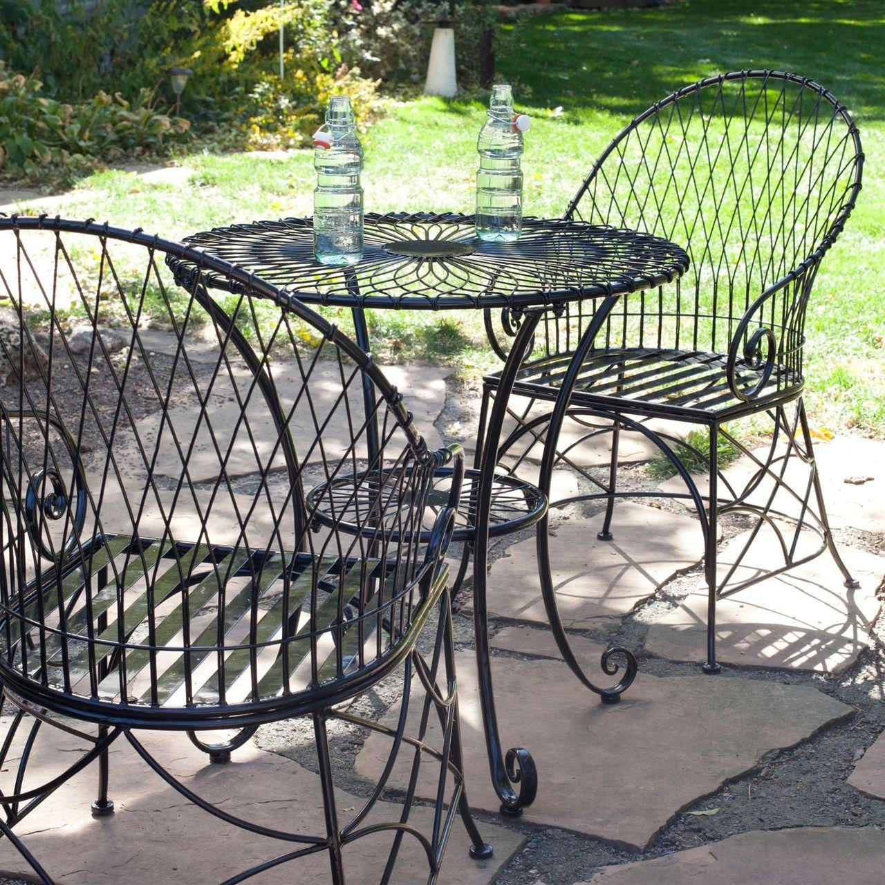 3 Piece Black Metal Patio Furniture Bistro Set With Round Table 2