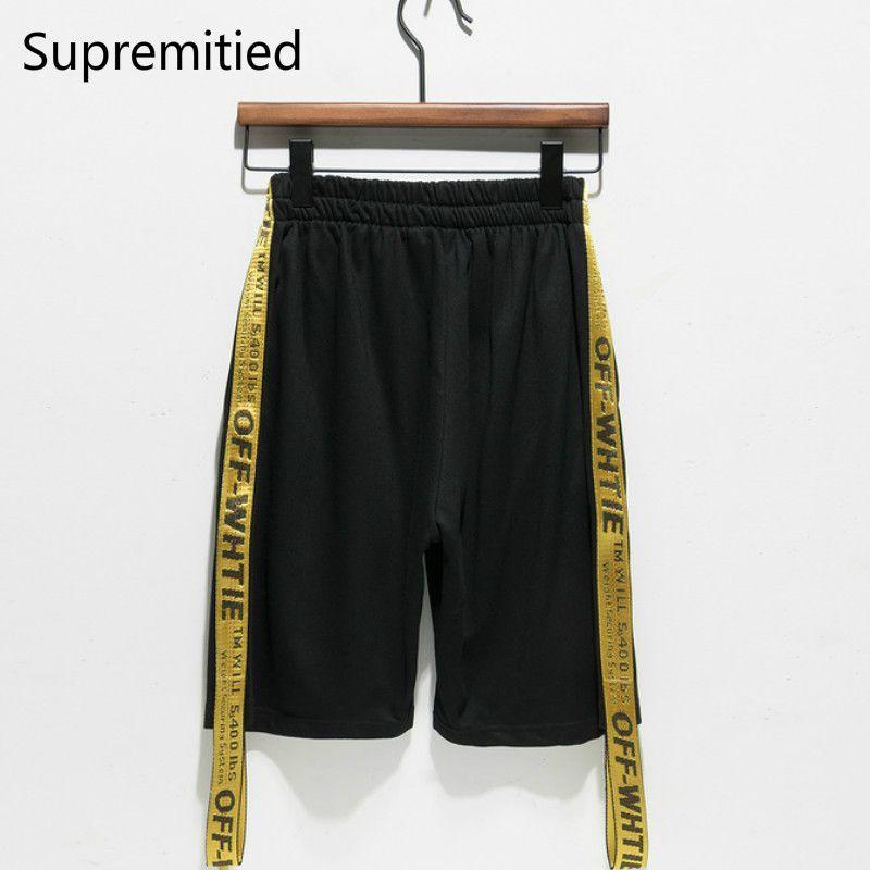2300742aa5c8 2017 latest Supremitied OFF WHITE Shorts Men Golden Regula hip hop  skateboard Justin Casual Beach Spring
