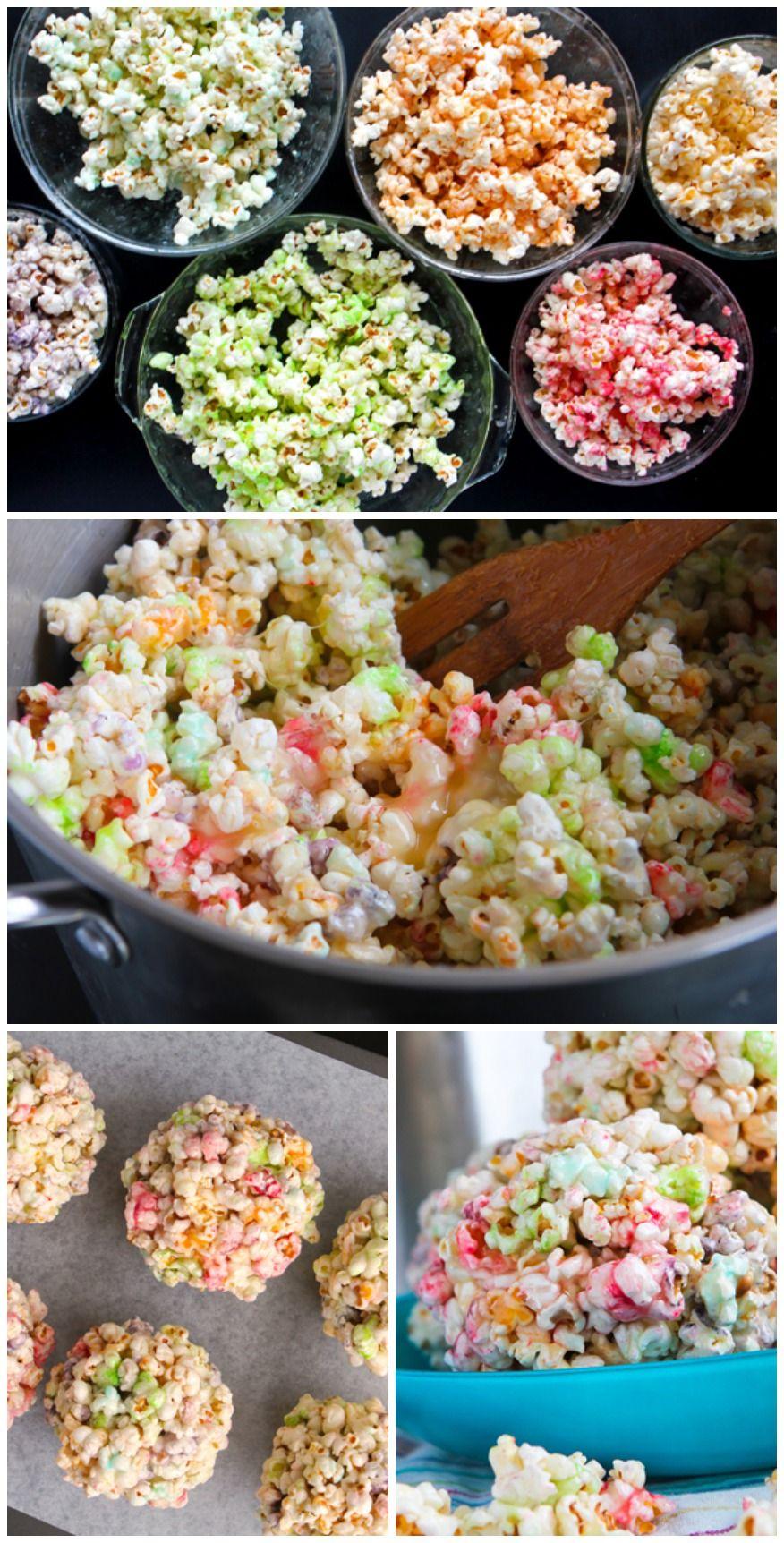 Rainbow Popcorn Balls Recipe Popcorn balls, Food
