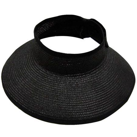 61d15396 Women's Summer Wide Brim Roll-Up Straw Sun Visor Hat,Black - Walmart.com