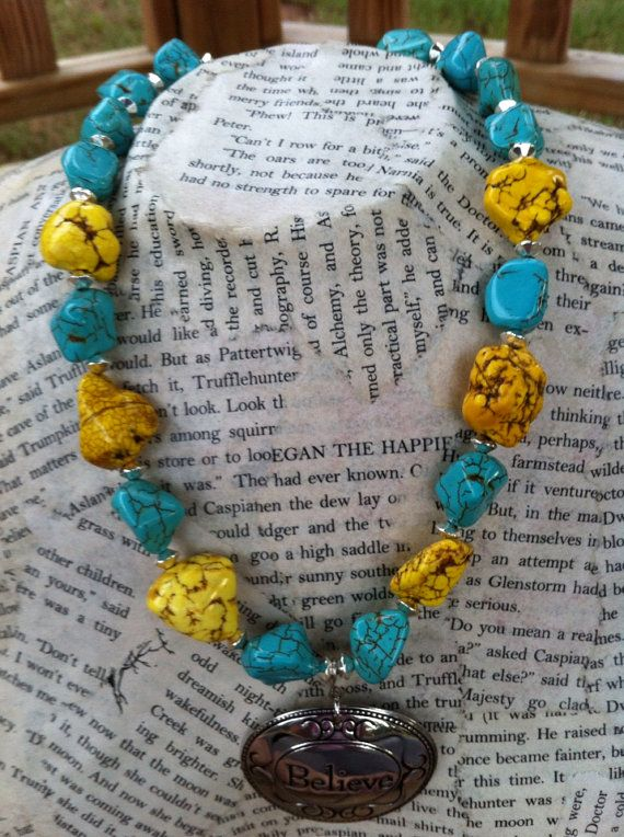 Turquoise Chunky Beaded Necklace $25 @Giftsjoy.com.com #cowtownchic #turquoise #yellow #nugget #chunky #necklace #believe