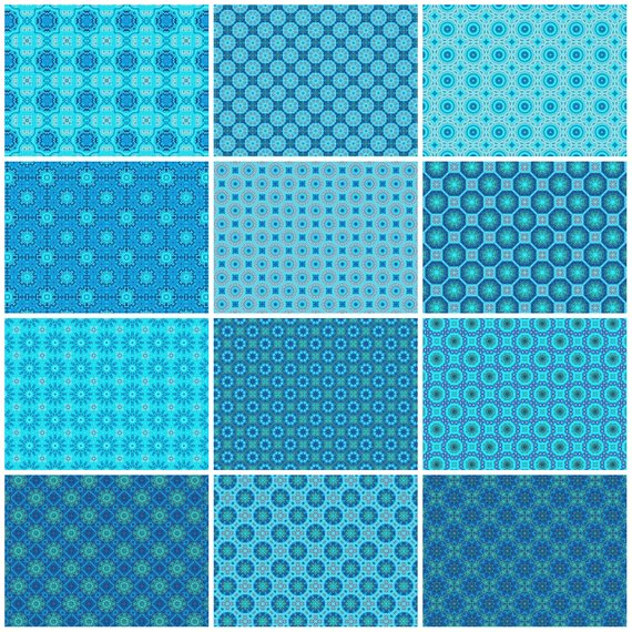 photo about Printable Decorative Paper named 12 Blue and Turquoise Electronic Patterned Paper Sheets Preset