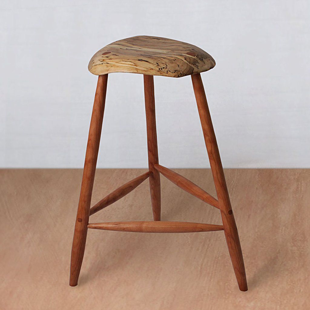 Mid Century Wooden Stool Spalted Maple This Wooden Stool Is