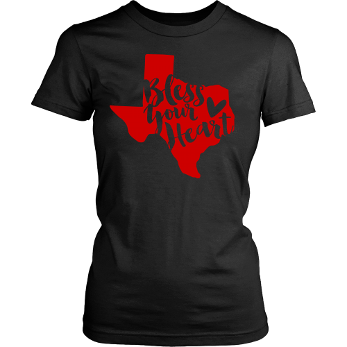 Bless Your Heart State of Texas Red T-Shirt Women's Classic Fit