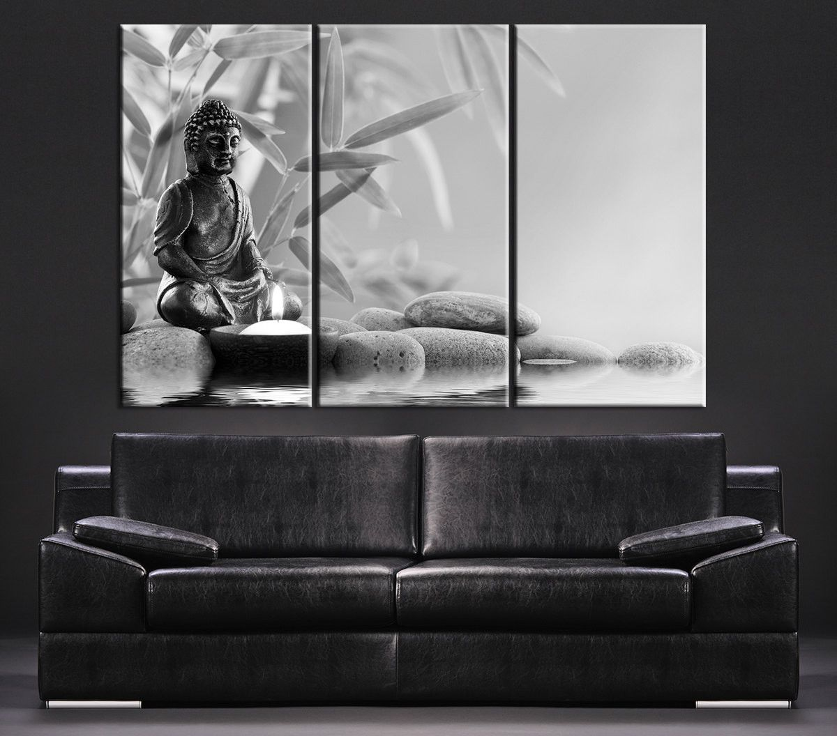 canvas art gray buddha statue canvas print large wall art canvas print black and white 3 panel. Black Bedroom Furniture Sets. Home Design Ideas