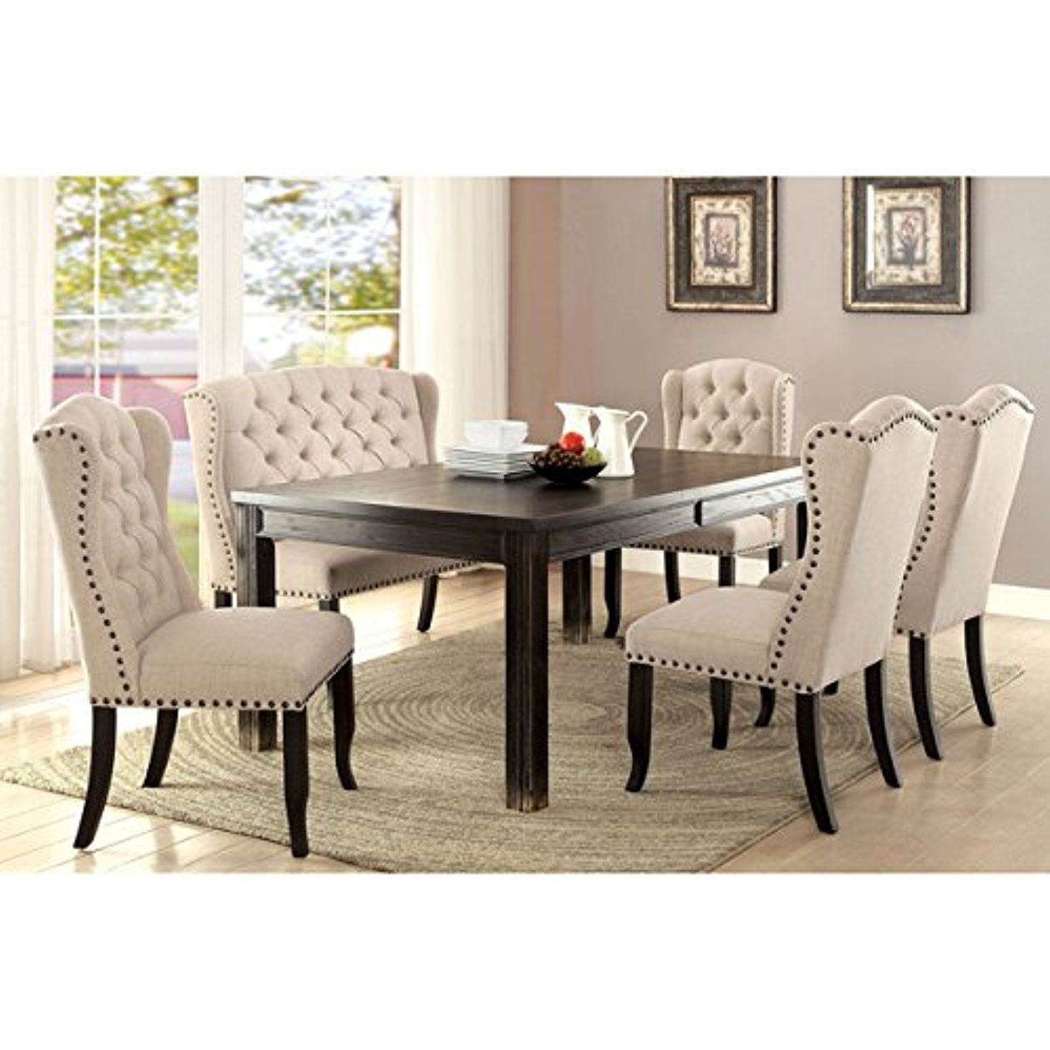 Furniture Of America Telara Contemporary Tufted Wingback Dining Chair Set Of 2 Awesome Produc Dining Table Black Dining Room Sets Upholstered Dining Bench