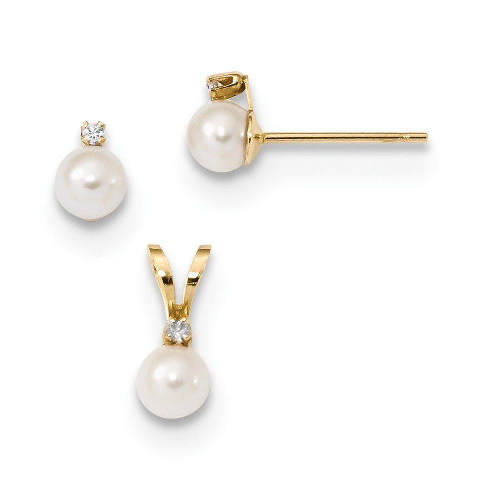 K yellow gold childrens mm white fwc pearl cz pendant and