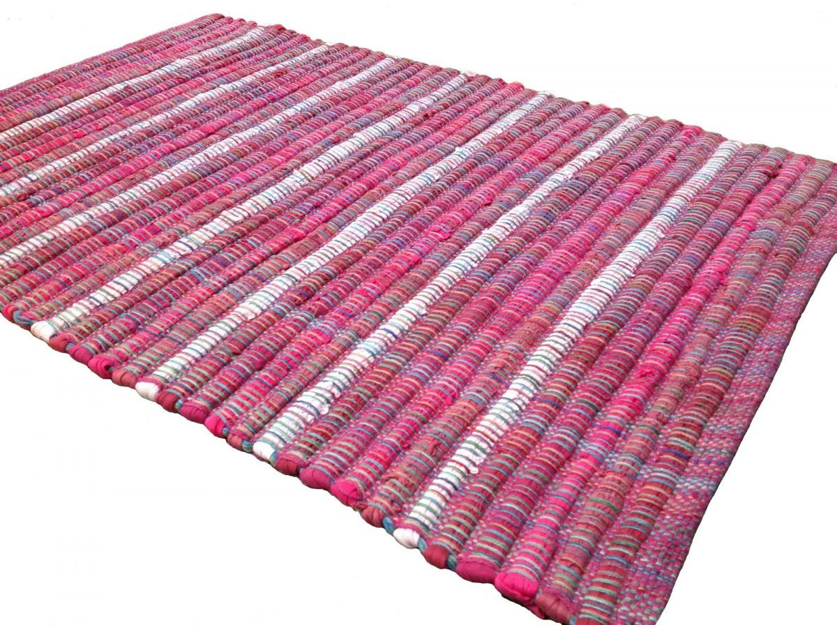 Udaipur Pink Rag Rug With Multi Colour