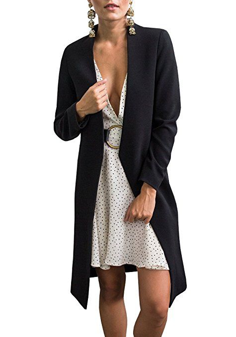Lueyifs Boho Einfarbig Business Damen Langarm Herbst Casual Freizeit Lang  Mantel Jacke Trenchcoat  Amazon. 068a6eee88