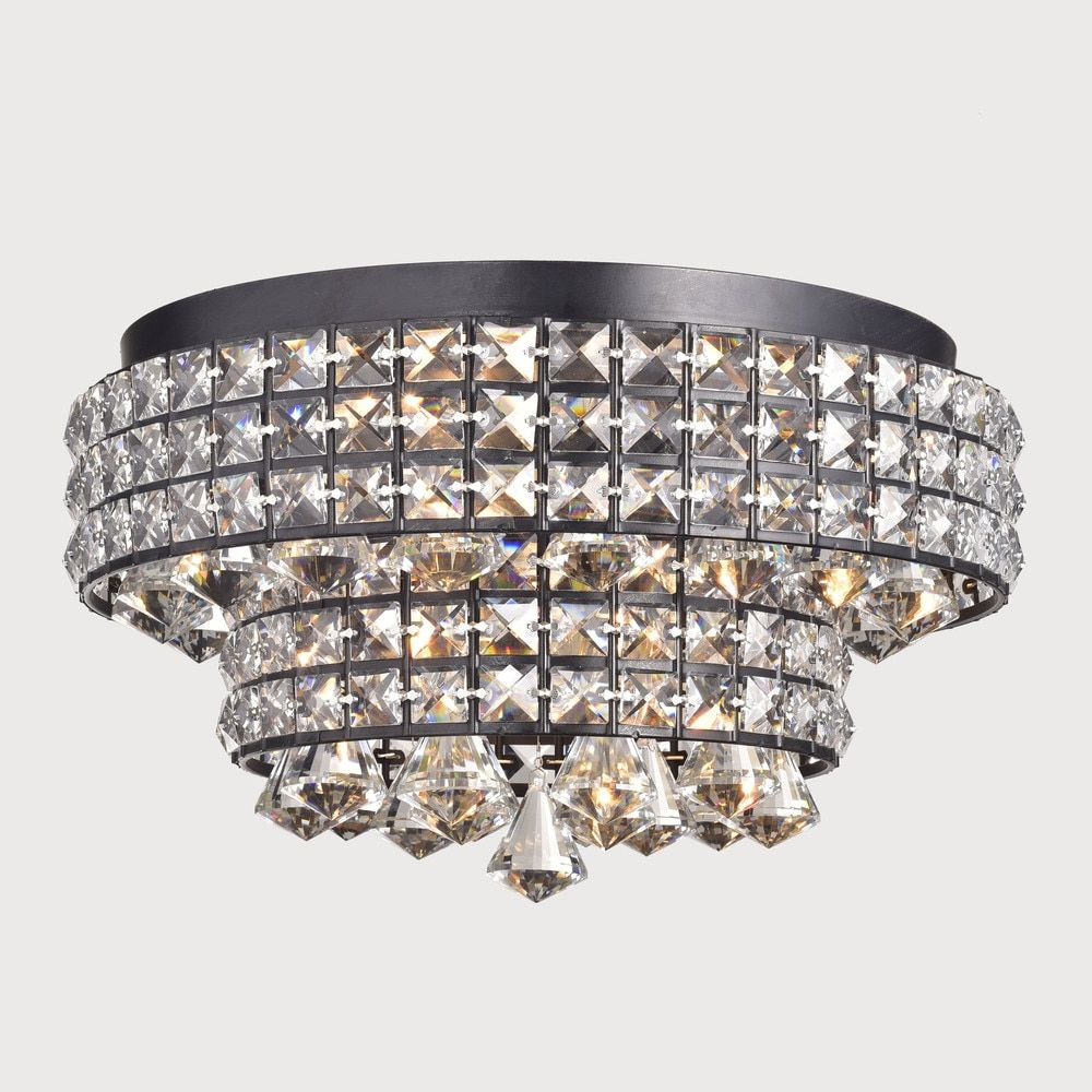 Jolie antique black two tier crystal shades flush mount chandelier jolie antique black two tier crystal shades flush mount chandelier overstock shopping arubaitofo Image collections