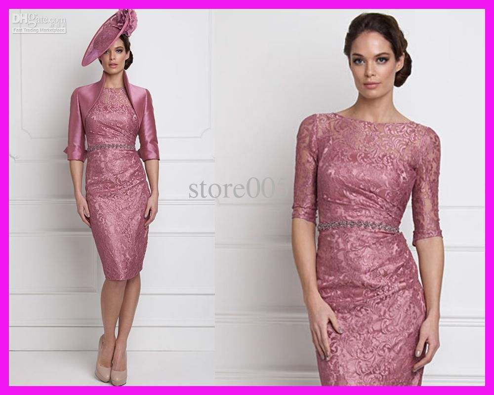 ad74fc45b9e Wholesale Mother Bride - Buy 2014 Elegant Pink Half Sleeve Lace Short Mother  of the Bride Dresses Pant Suits With Jacket M1740