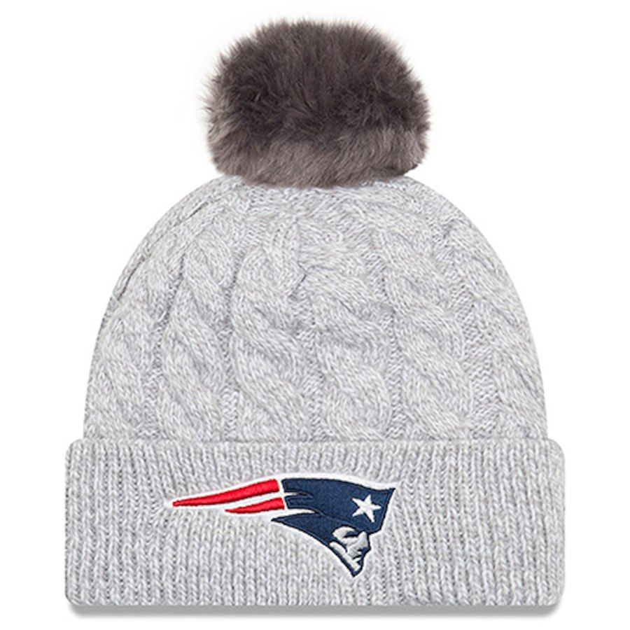 Women S New England Patriots New Era Gray Toasty Cuffed Knit Hat With Pom Click To Buy Affi New England Patriots Apparel Winter Fashion Coats Knitted Hats