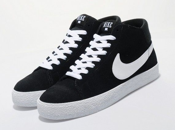 nike sb blazer high black white