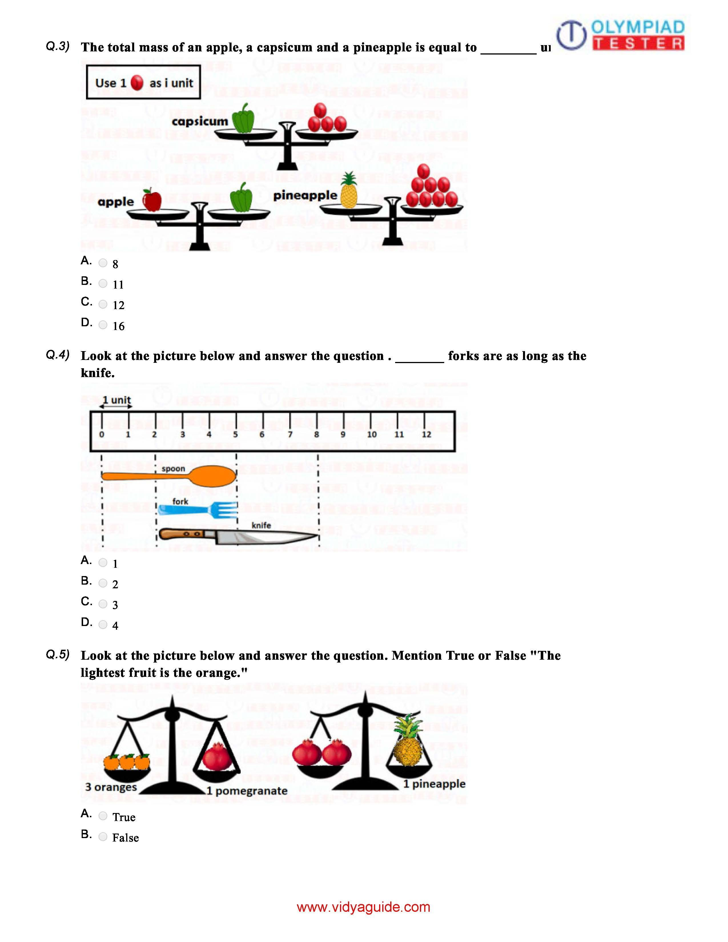 Download Class 1 Maths Olympiad Sample Paper On