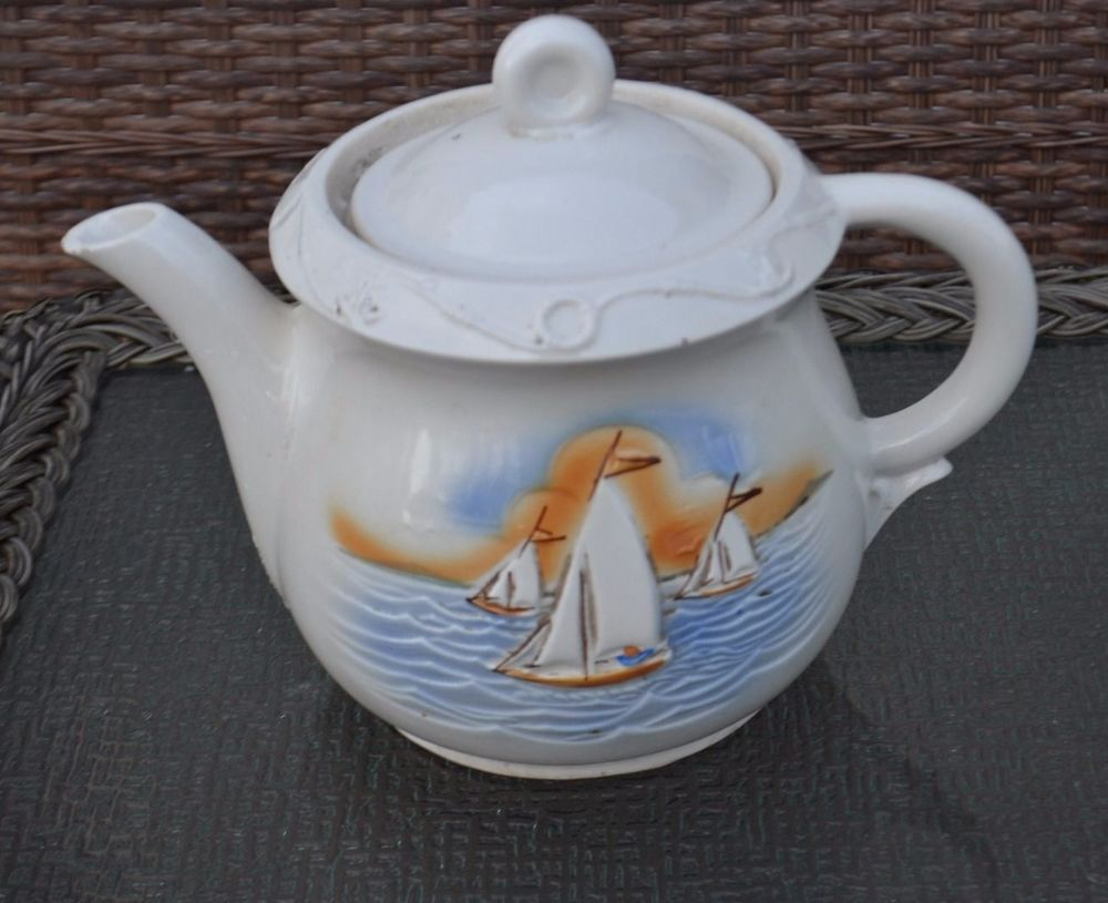 Vintage 1930's Porcelier Vitreous Large Teapot, Nautical Theme, Sailboats