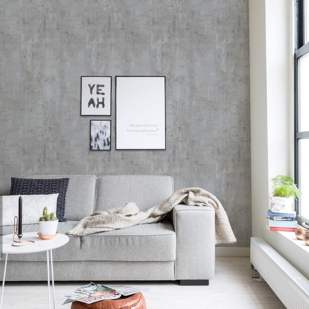 Cement Concrete Wallpaper Peel And Stick In 2020 With Images Concrete Wallpaper Wallpaper Living Room Fabric Wallpaper