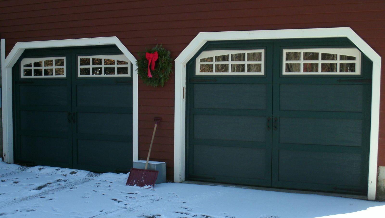 Hunter Green Courtyard Garage Doors With White Somerton