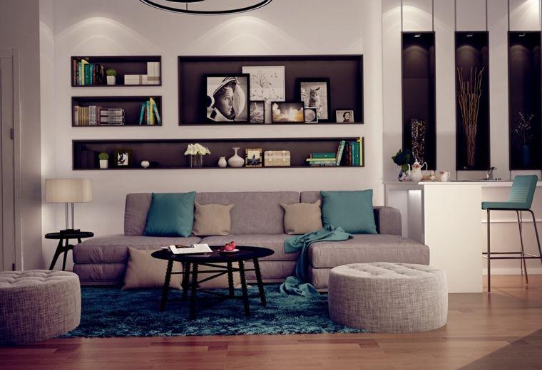 salones clasicos modernos distintos disenos combinacion gris azul ideas - Salones Clasicos Modernos