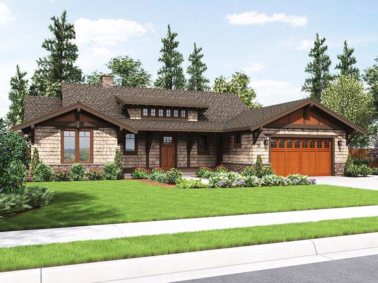 Landscaping for ranch houses and pictures small ranch for Large craftsman style home plans
