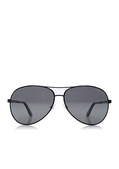 bb3d2749cefc TOM FORD 'Charles Round Aviator' Sunglasses Black | Shiny Palladium metal  black frame with shiny black acetate temple tips and gradient smoke lenses.