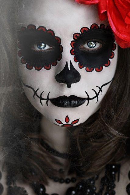 Black White Red Sugar Skull For Girls Face Painting Halloween Halloween Make Sugar Skull Costume