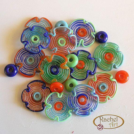 Veelkleurige Lampwork glas kralen, gratis verzending, Set van bloem glasparels - Rachelcartglass