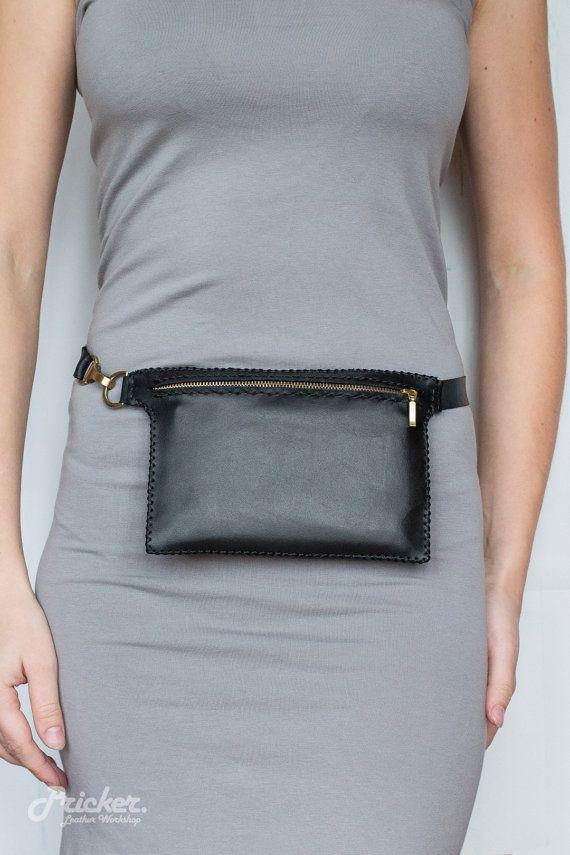 d4d454129fbf Women Black Leather Fanny Pack PBFP-05/Hip Bag/ Waist Bag/ Waist ...