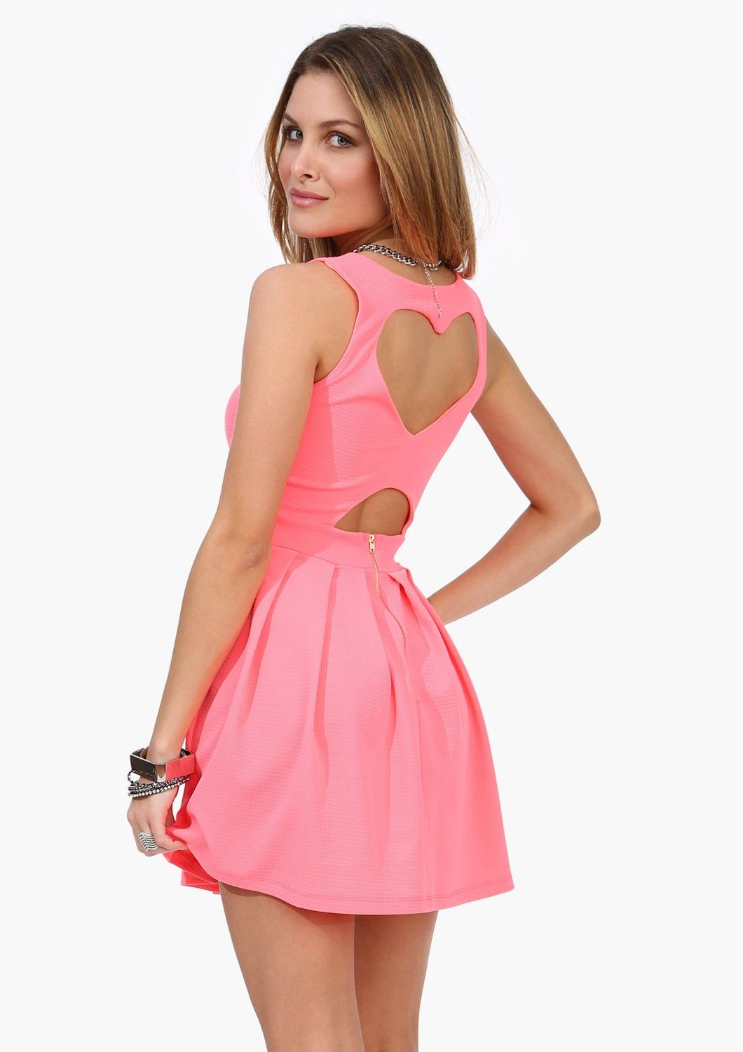 Adorable Neon Coral I <3 Dress - a simple dress on the front with a ...