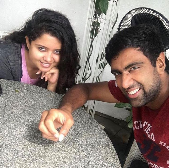 Ashwin Ravi enjoying an offday from cricket with his wife