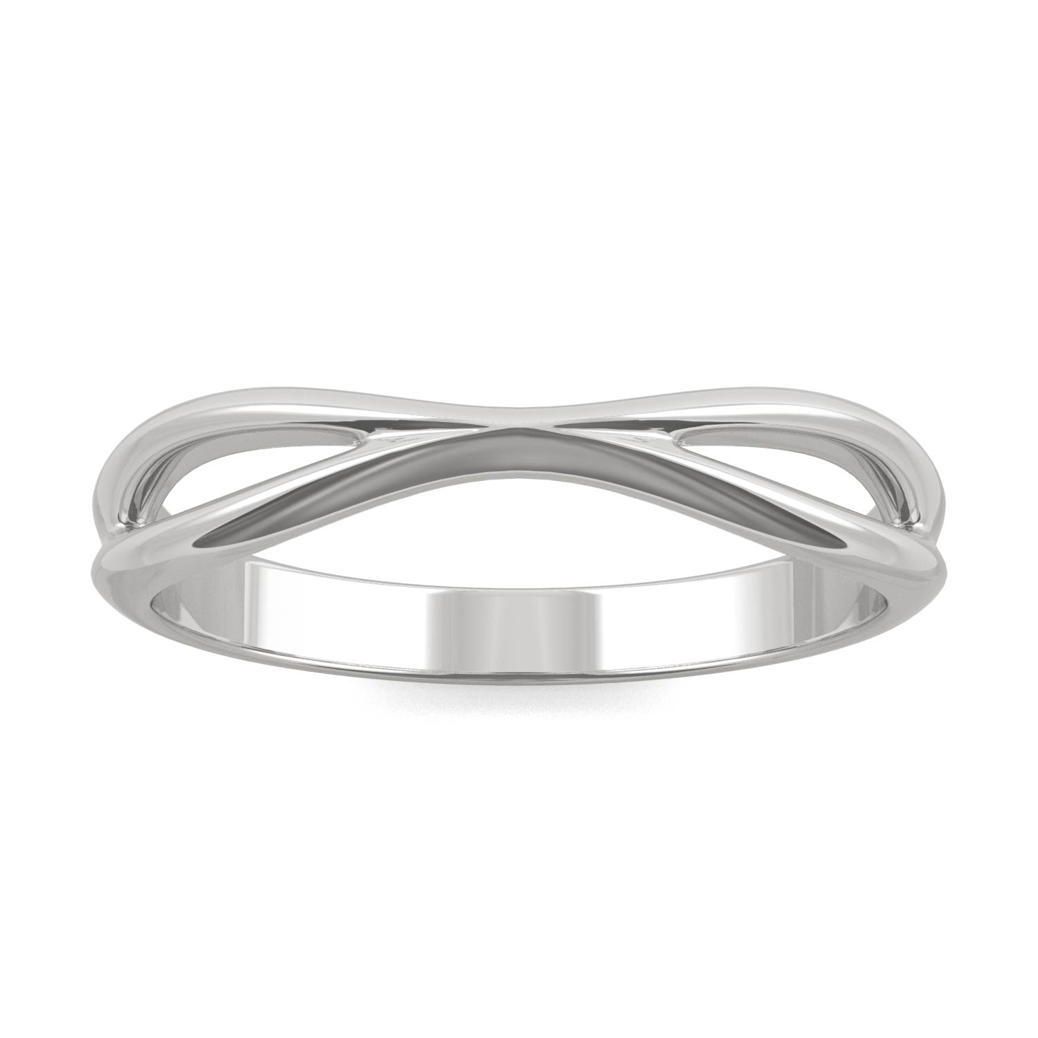 Signature Curved Open Wedding Band in 14K White Gold
