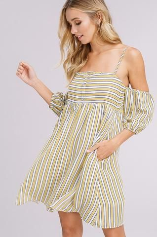 067c0d58dff7c7 Listicle Textured Striped Off The Shoulder Dress in Yellow in 2019 ...