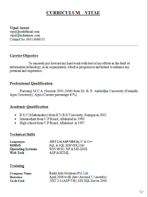 Curriculum Vitae Online Gratis Free Download Sample Template