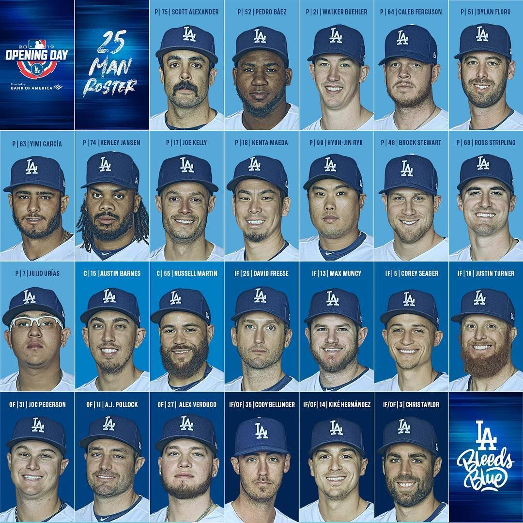 Los Angeles Dodgers On Instagram Here Is The Dodgers 25 Man Roster For Openingdayla Los Angeles Dodgers Dodgers Nation Dodgers