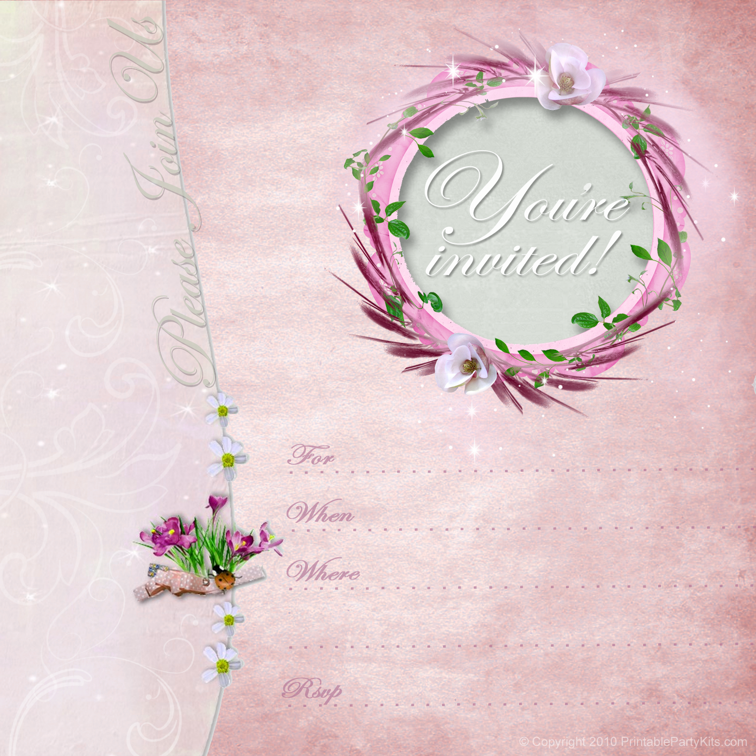 Invitation Images  Click On The Free Pink Party Template To See