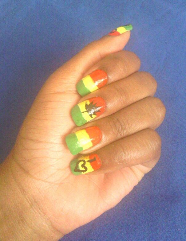 Jamaican Rastafarian NailArt | Summer NailArt Design | Pinterest