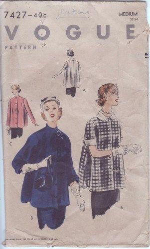 Vintage Vogue 7427 Jacket Or Smock Easytomake C1952 By