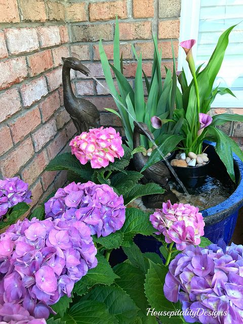 Hydrangeas and fountain-Porch-Housepitality Designs
