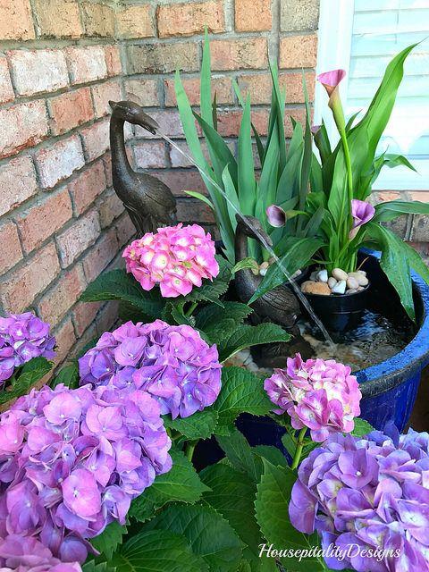 Hydrangeas and fountain-Porch-Housepitality Designs