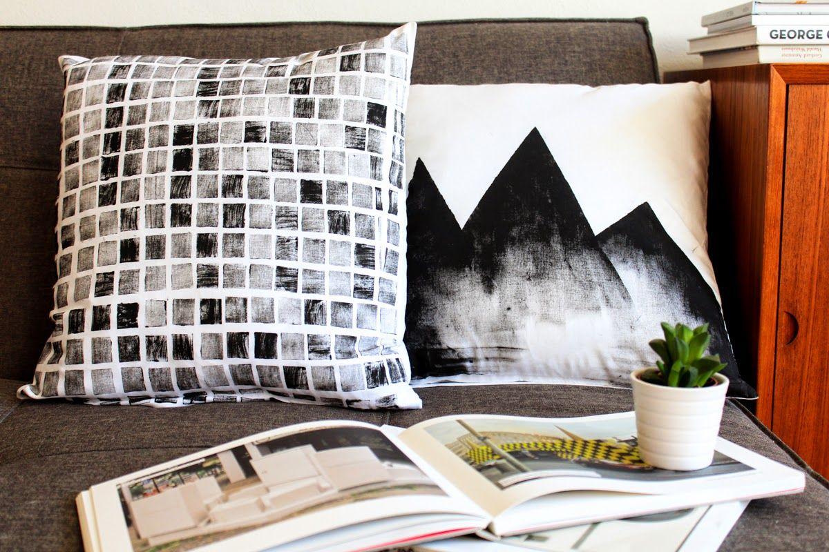 diy polster bedrucken und bemalen hauptsache sch n schlicht ach du gute g te kissen. Black Bedroom Furniture Sets. Home Design Ideas
