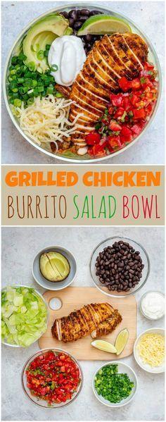 Bol de salade au burrito au poulet grillé