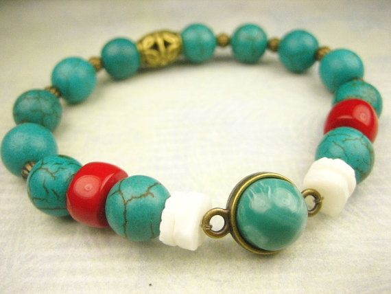 Natural Sea Blue Magnesite Turquoise Red Sea Coral by sofoola, $25.00