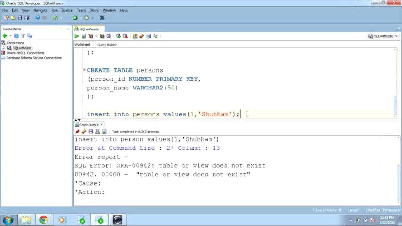SQL Constraints .. contd1 Sql, Oracle sql, Person name