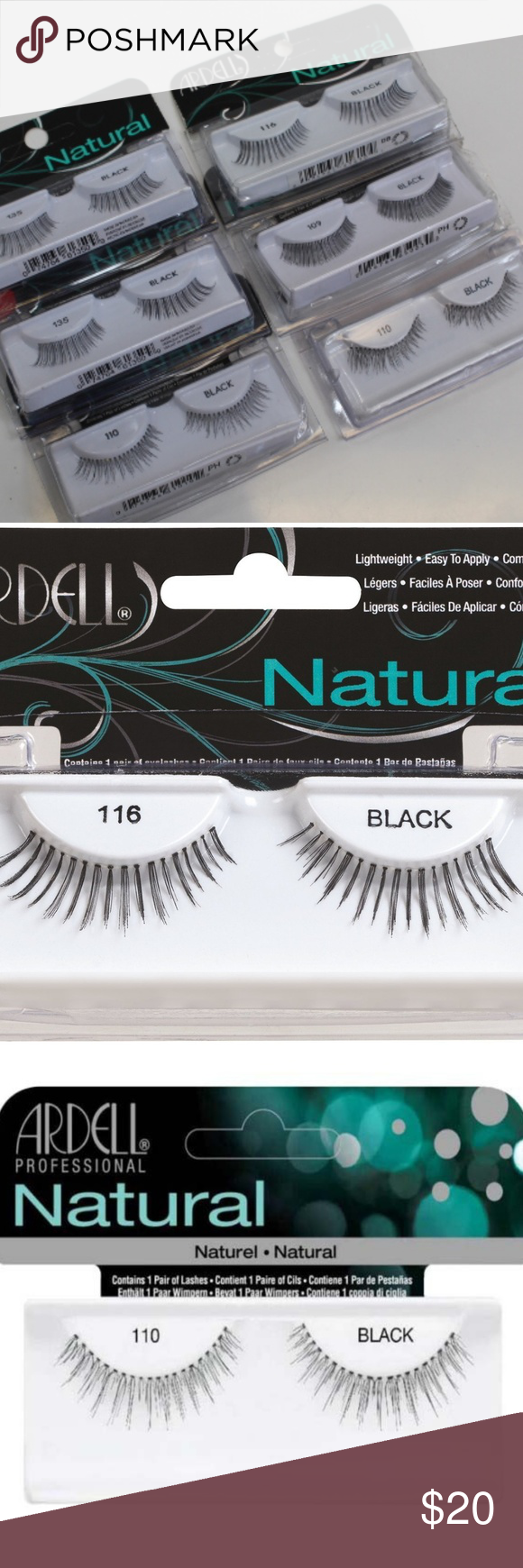 03c74aa7308 *798 ARDELL NATURAL 6 PIECES SET LASHES ARDELL NATURAL 1 - 109 BLACK 1 -  116 BLACK 2 - 135 BLACK 2 - 110 BLACK ARDELL Makeup False Eyelashes