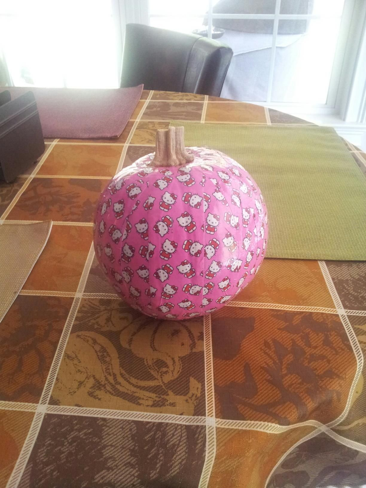 Hello Kitty Duct Tape Pumpkin Choose your favorite duct tape and apply all around your pumpkin!!